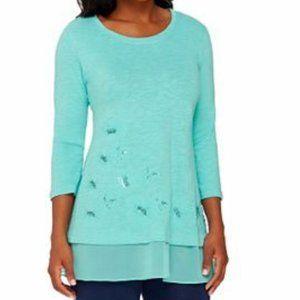 Women's Shirt, XXS Slub Knit Bead Embellished Top
